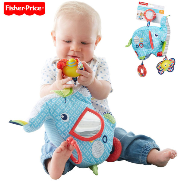 Fisher Price Бебешка играчка за количка Слонче с активности DYF88