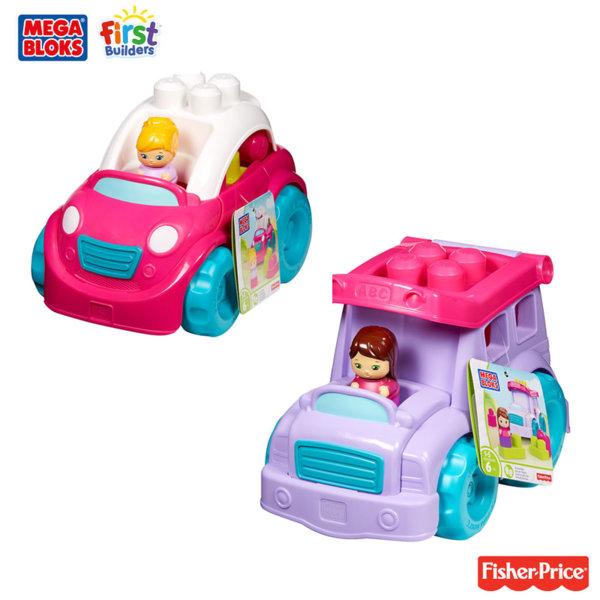 Fisher Price Mega Bloks - Розова количка със строителни блокчета CXP13