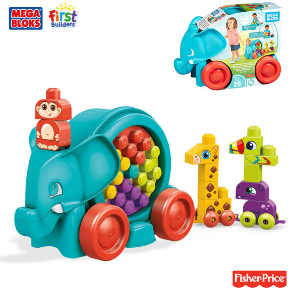 Fisher Price Mega Bloks - Слонче за дърпане със строителни блокчета животни FFG21