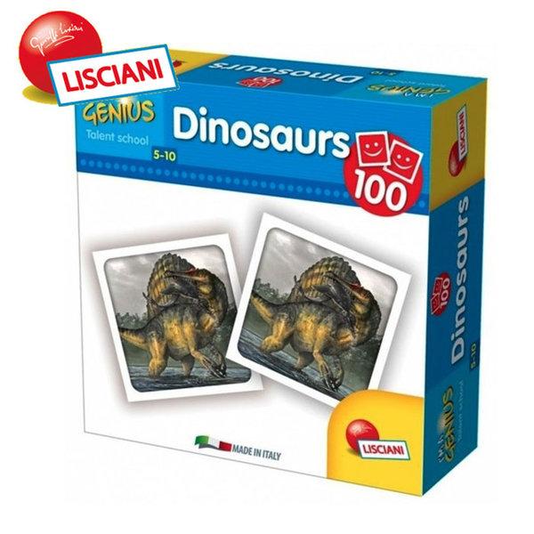 Lisciani Giochi - Детска образователна игра Малък гений Мемори 100 Динозавъра 58952