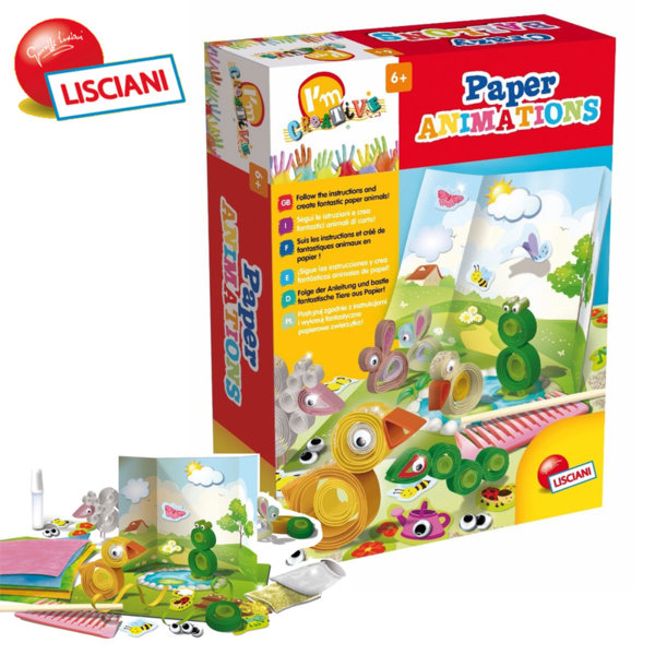 Lisciani Giochi - Детски квилинг комплект направи си сам животни от хартия 47680