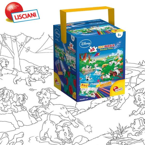 Lisciani Giochi Disney - Детски пъзел 2в1 с флумастери 101 Далматинци 48373