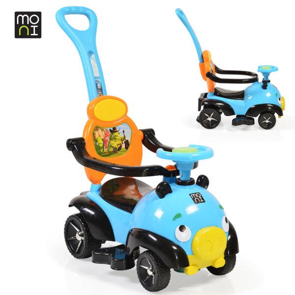 Moni - Детска кола за бутане с родителски контрол The Bomb 8208 синя 106108