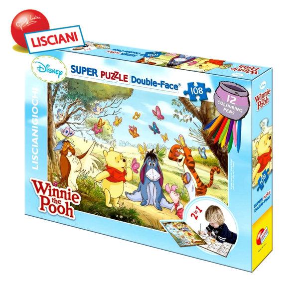 Lisciani Giochi Disney - Детски двулицев пъзел с флумастери Мечо Пух 33492