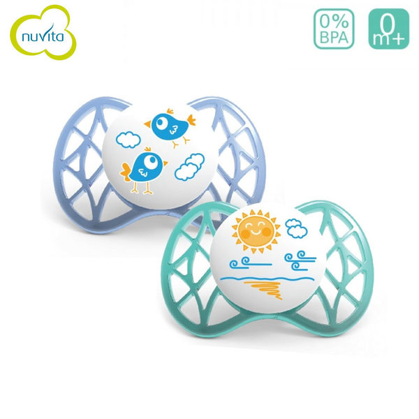 Nuvita - Бебешка анатомична залъгалка AIR55 SYM 0+m 2бр. 7061B син