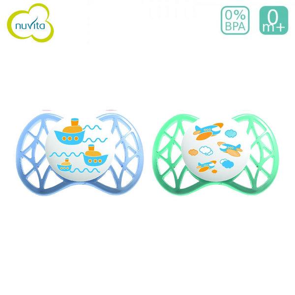 Nuvita - Бебешка анатомична залъгалка AIR55 ORT 0+m 2бр. 7060B син