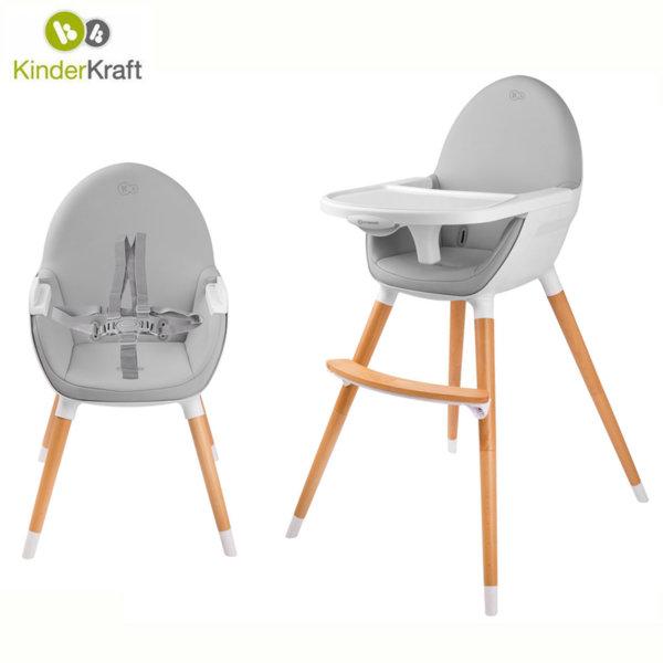 KinderKraft - Стол за хранене 2в1 FINI сив 99230