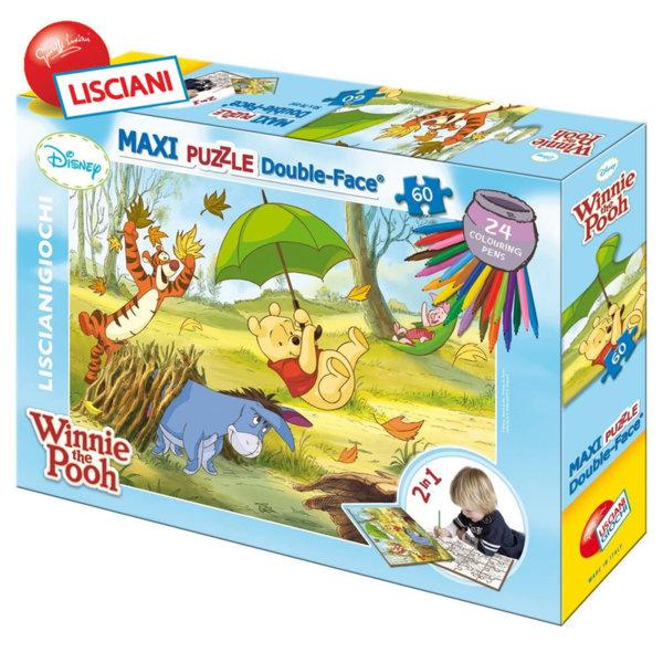 Lisciani Giochi Disney - Детски двулицев Макси пъзел с флумастери 60ч  Мечо Пух 33522