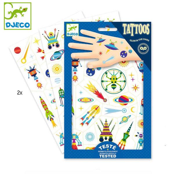 Djeco - Детски светещи татуировки Космически приключения DJ09590