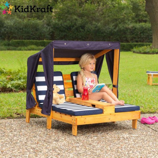 KidKraft - Детски дървен двоен шезлонг със сенник 524