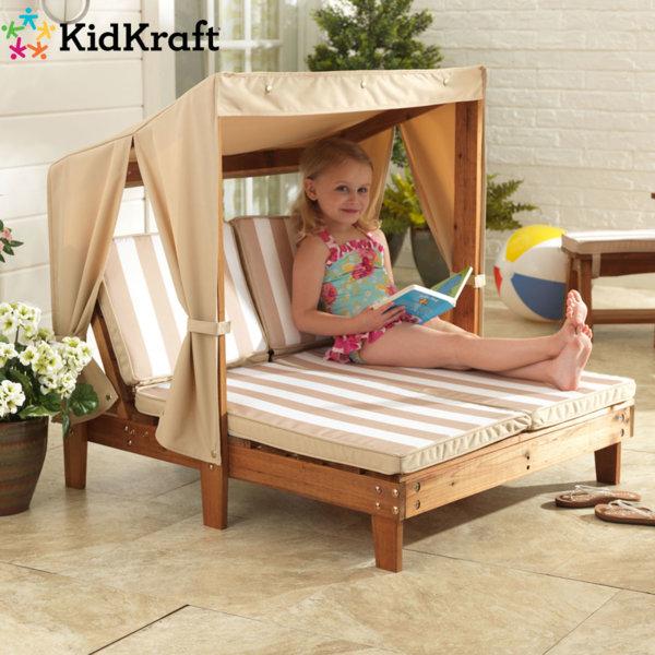 KidKraft - Детски дървен двоен шезлонг със сенник 534