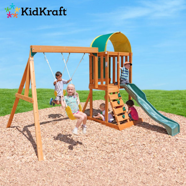 KidKraft - Детска дървена катерушка с люлки и пързалка Ainsley 400