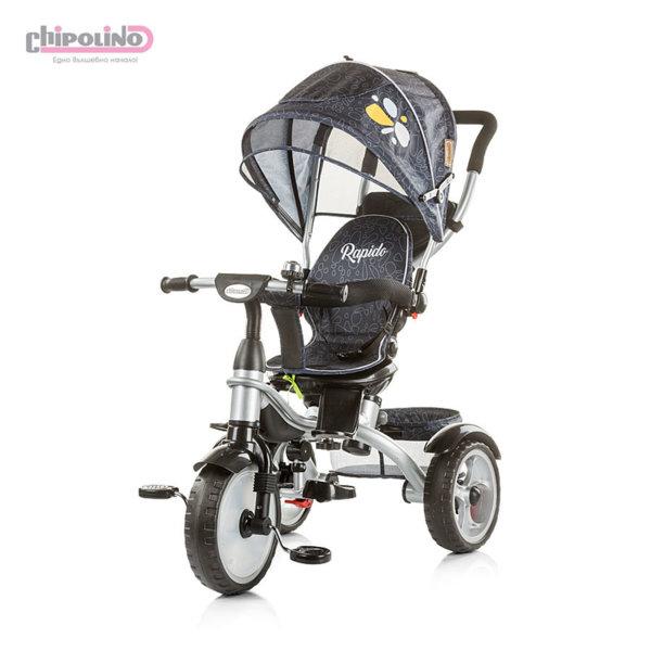 Chipolino - Триколка със сенник и родителски контрол Рапидо черна