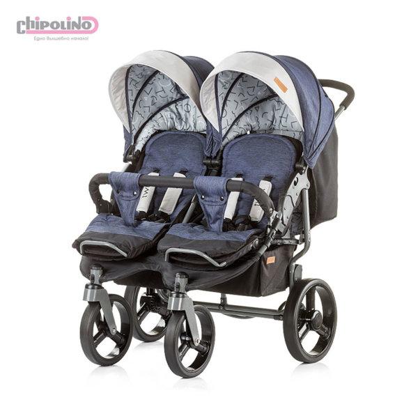 Chipolino - Количка за близнаци Туикс сини дънки