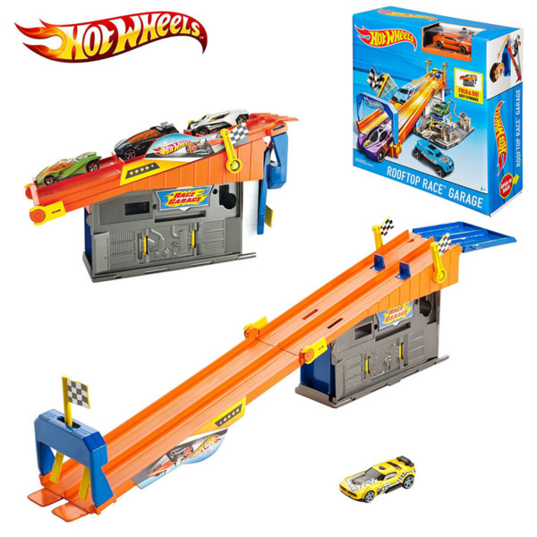 Hot Wheels - Писта с гараж и количка Rooftop Race Garage DRB29