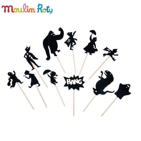 Moulin Roty - Комплект за театър сенки в мрака Герои 711091