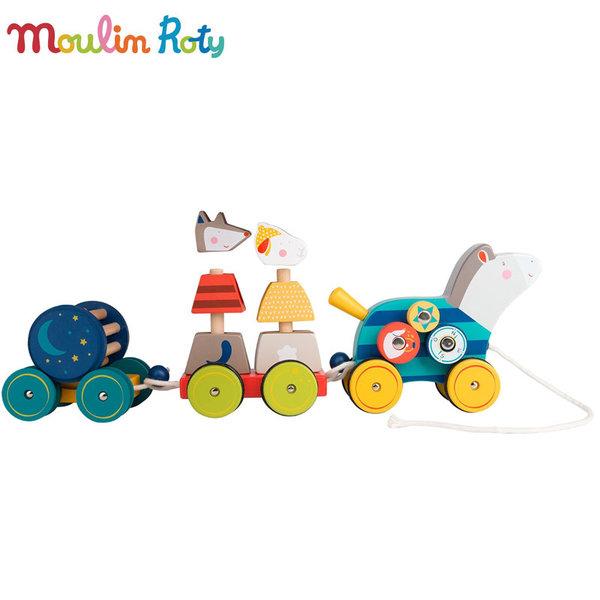 Moulin Roty - Дървено влакче за дърпане Конче с активности 659340