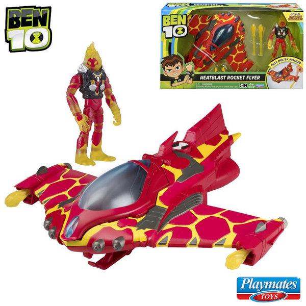 Ben 10 - Бен Тен Бойна машина Rocket Flyer с фигура Heatblast 77400