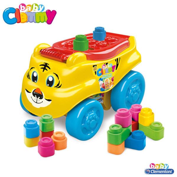 Clementoni Clemmy - Бебешки конструктор с количка за бутане Тигър 14952