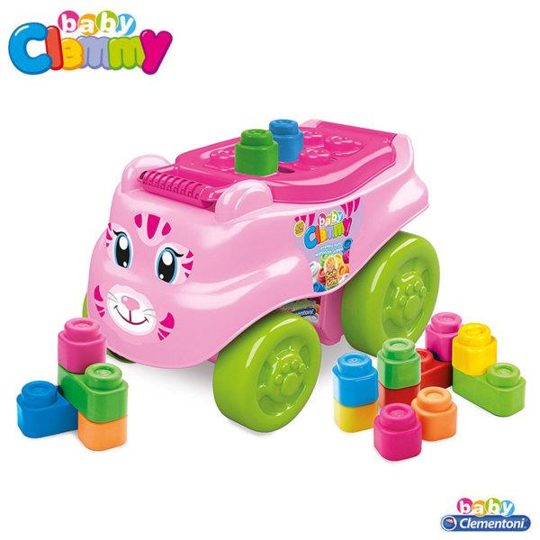 Clementoni Clemmy - Бебешки конструктор с количка за бутане Коте 14953