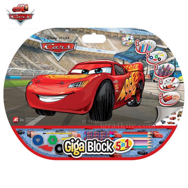 Disney Cars - Комплект за оцветяване с блокче 5в1 Колите 62717