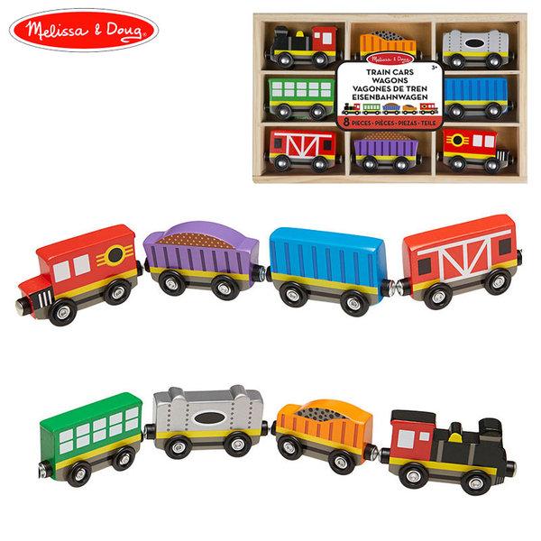 Melissa&Doug - Дървено влакче с 8 вагончета 15186
