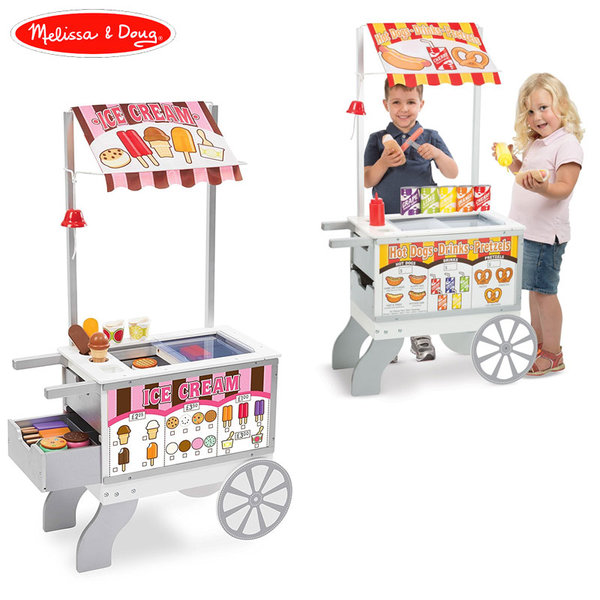 Melissa&Doug - Дървена количка за хот дог и сладолед 2в1 19350