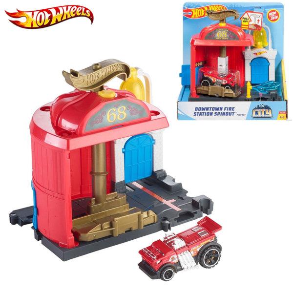 Hot Wheels - Пожарна станция с количка City FRH28