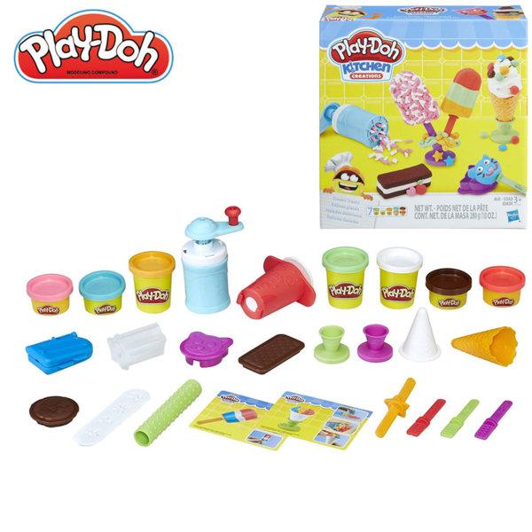 PlayDoh - Детски комплект Забавления в кухнята Направи си сладолед E0042