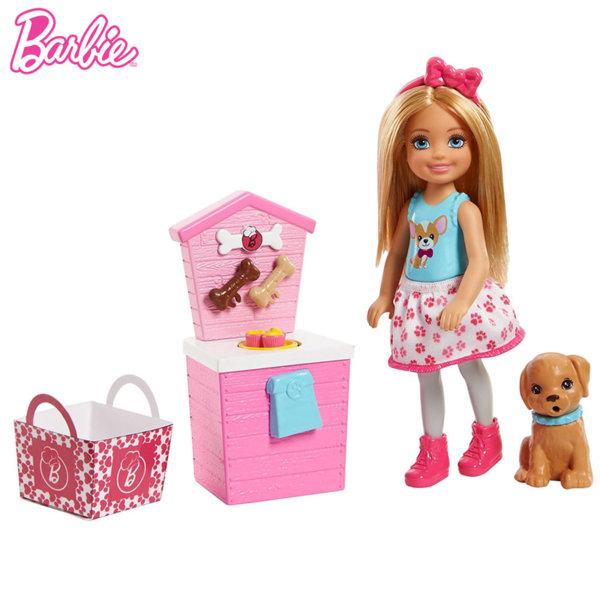 Barbie - Кукла Челси с щанд за пазаруване с кученце и аксесоари FHP66