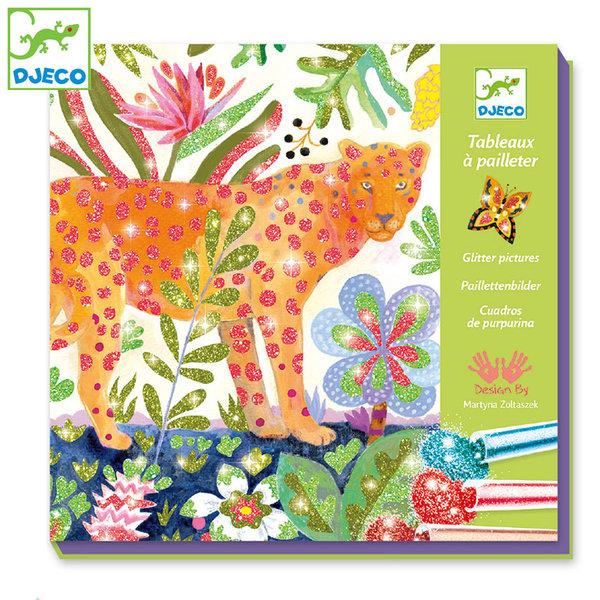 Djeco - Комплект за оцветяване с брокат Tropico DJ09509