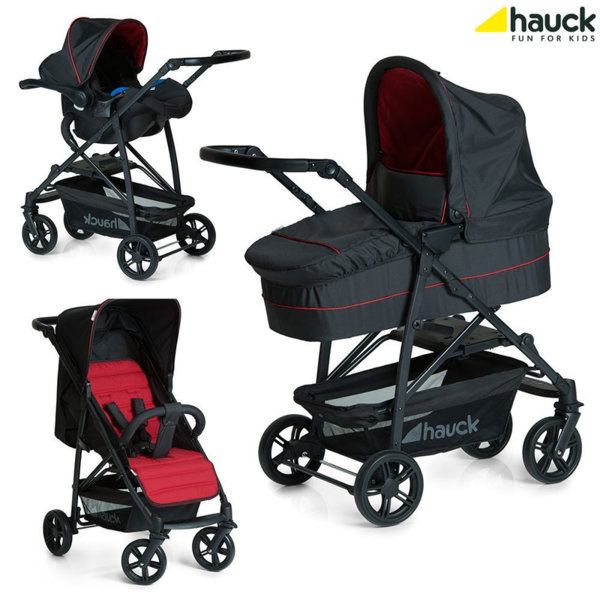 Hauck - Бебешка количка 3в1 Rapid 4 Plus Trio set Caviar/Tango 149546