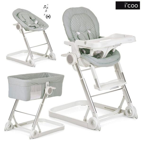 1iCoo - Бебешко легло, шезлонг и стол за хранене Grow With Me 1-2-3 Diamond Grey 312247