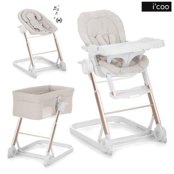 1iCoo - Бебешко легло, шезлонг и стол за хранене Grow With Me 1-2-3 Diamond 312230