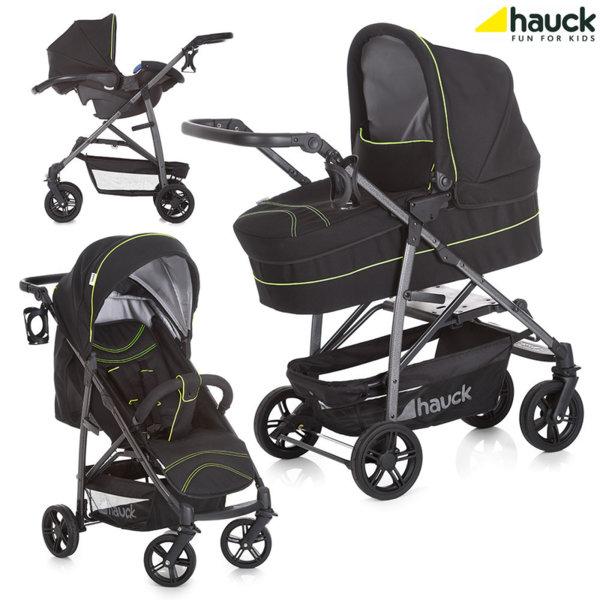 Hauck - Бебешка количка 3в1 Rapid 4 Plus Trio set Caviar/Neon Yellow 149645