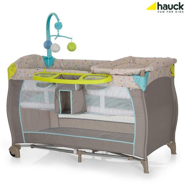 Hauck - Бебешка кошара 2 нива Babycenter Multi Dots Sand 607589