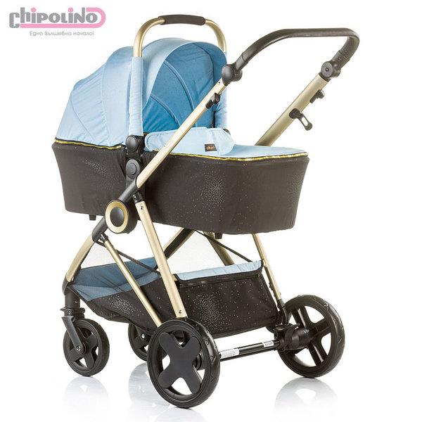 Chipolino - Бебешка количка Сенси 2в1 с твърд кош синя