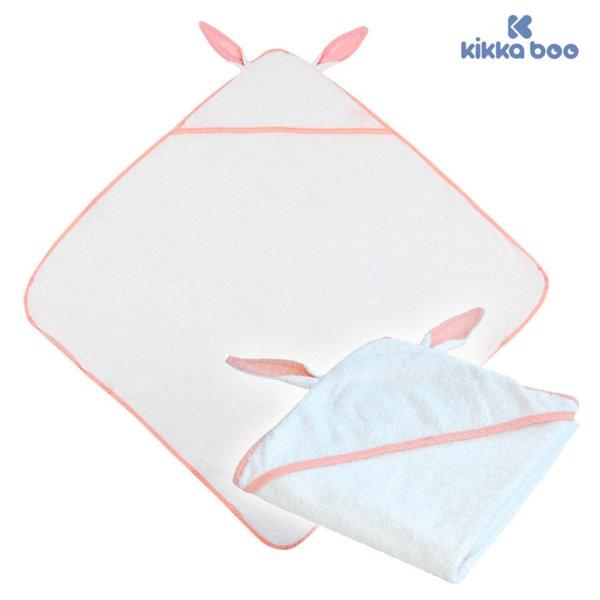 Kikka Boo - Бебешка хавлия с качулка и ушички 80/80 Розов кант 31104010001