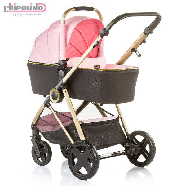 Chipolino - Бебешка количка Сенси 2в1 с твърд кош розова