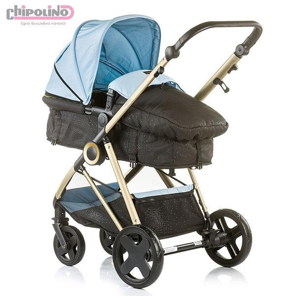 Chipolino - Бебешка количка Сенси 2в1 с трансформираща седалка синя
