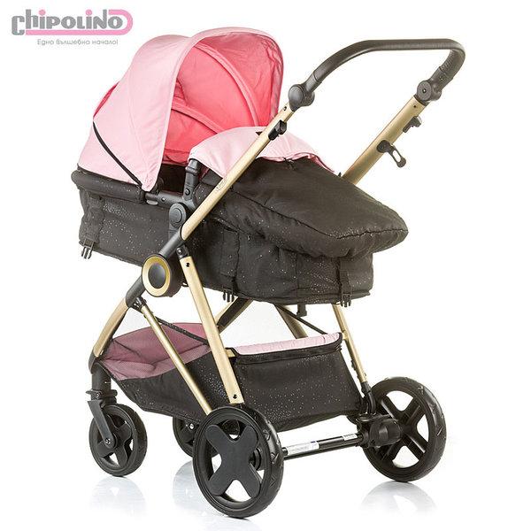 Chipolino - Бебешка количка Сенси 2в1 с трансформираща седалка розова