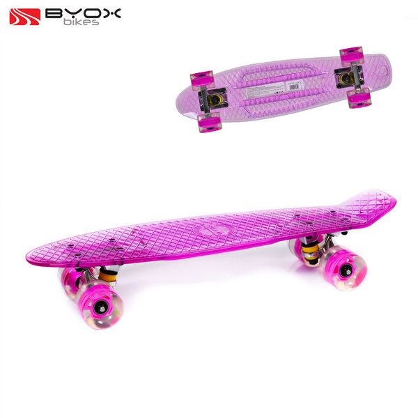 """Byox Bikes - Скейтборд Casper 22"""" със светещи колела розов 104235"""