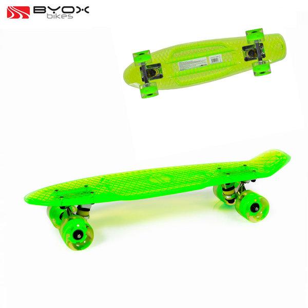 """Byox Bikes - Скейтборд Casper 22"""" със светещи колела зелен 104234"""