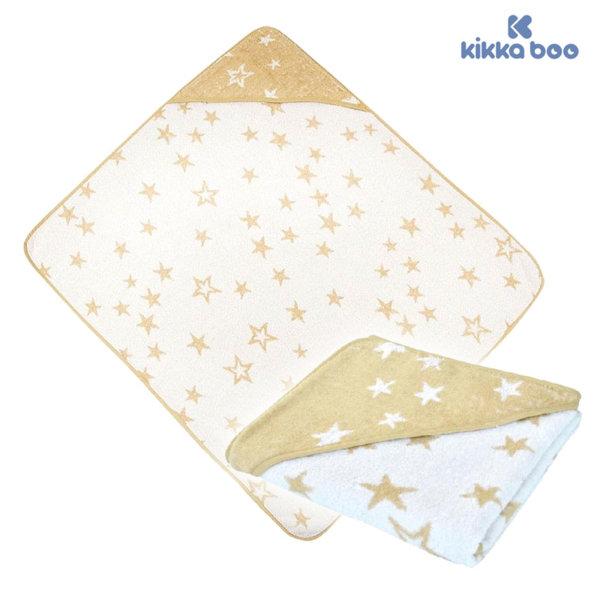 Kikka Boo - Бебешка хавлия с качулка 80/90 STARS Бежова 31104010009