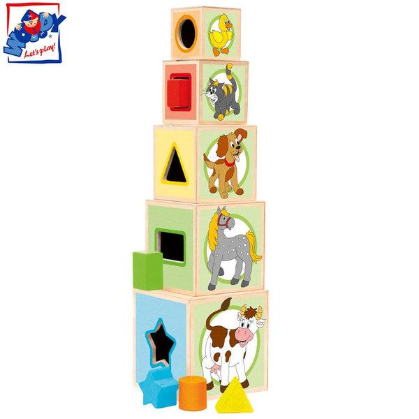 Woody - Дървени кубчета сортер Животни 95005