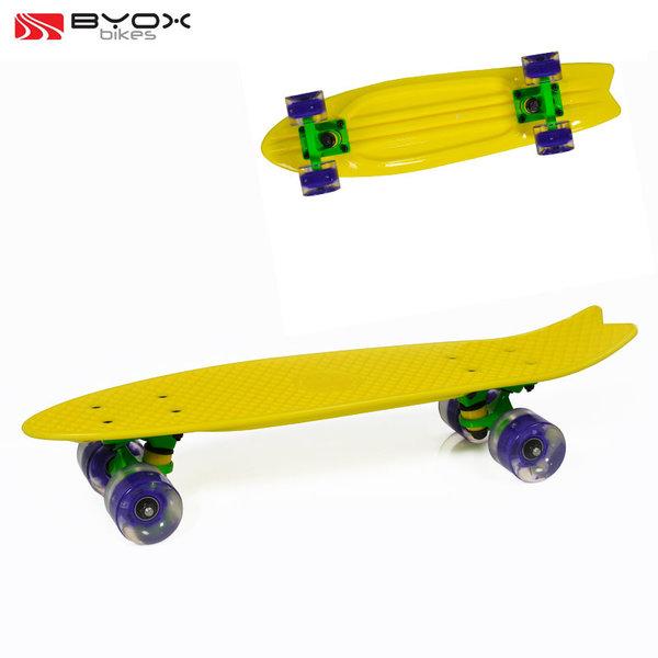 """Byox Bikes - Скейтборд Pastel със светещи колела 23"""" жълт 104065"""