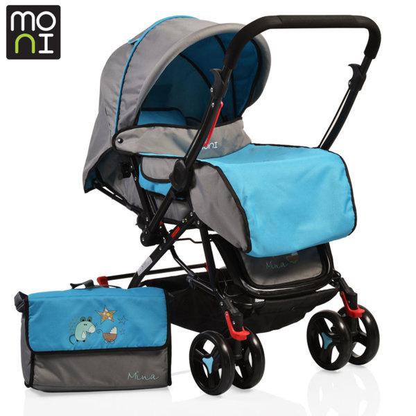 Moni - Комбинирана детска количка Mina синя 101311