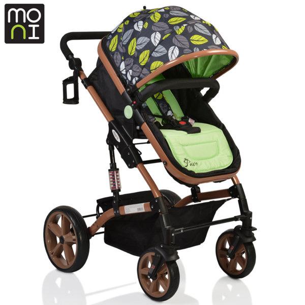 Moni - Комбинирана детска количка Pavo зелена 106380