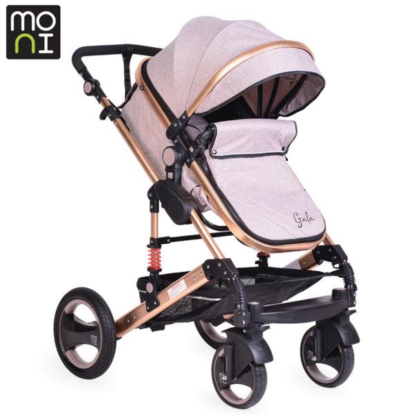 Moni - Комбинирана детска количка Gala светло бежова/gold 104040