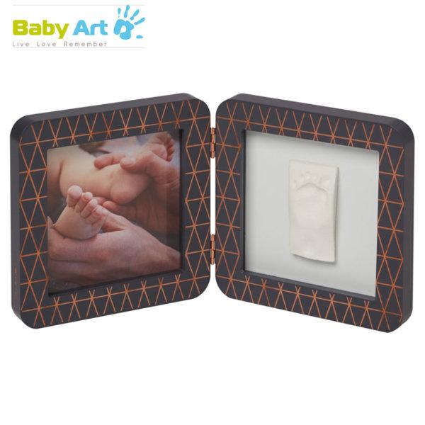 Baby Art - Двойна рамка за снимка и отпечатък с декорация сиво/бяло 00011